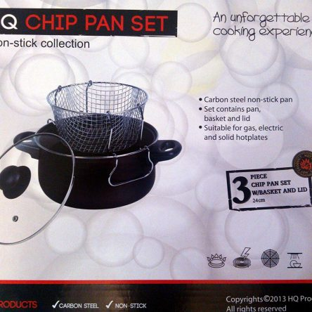 24cm Stir Fry Chip Pan with Basket & Glass Lid