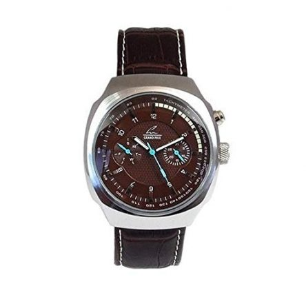 Grand Prix Chronograph Watch Brown Leather