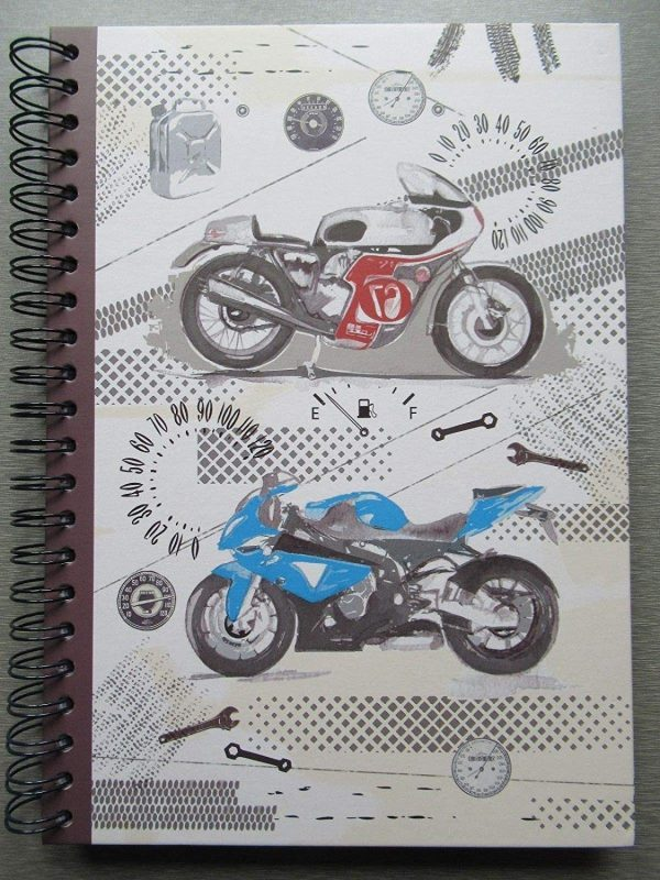 Motorcycle Lined Spiral Notebook A4