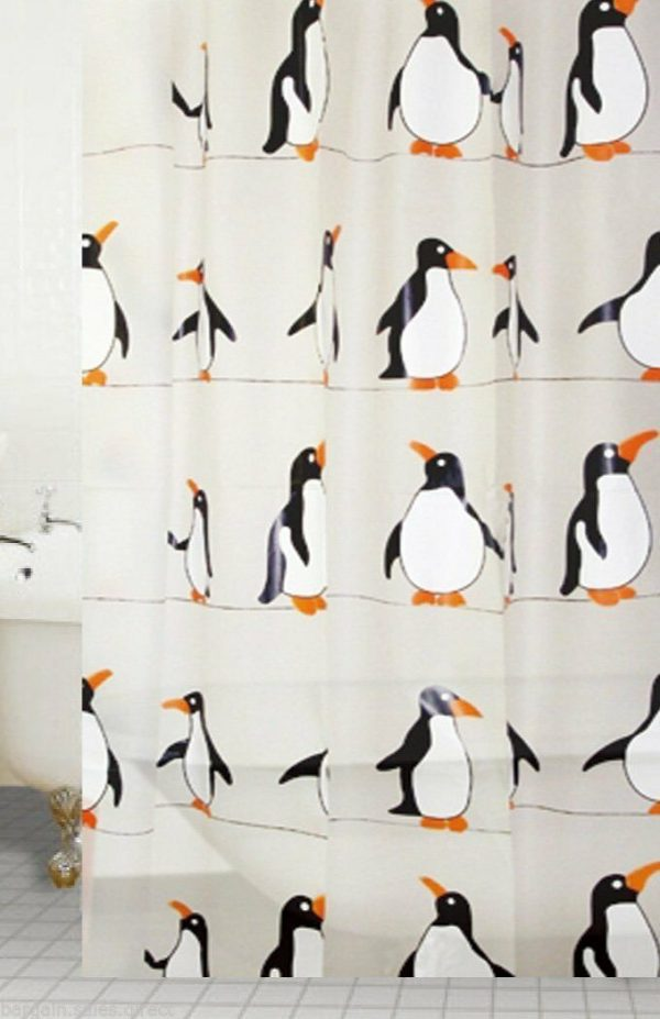 penguin bath shower curtain