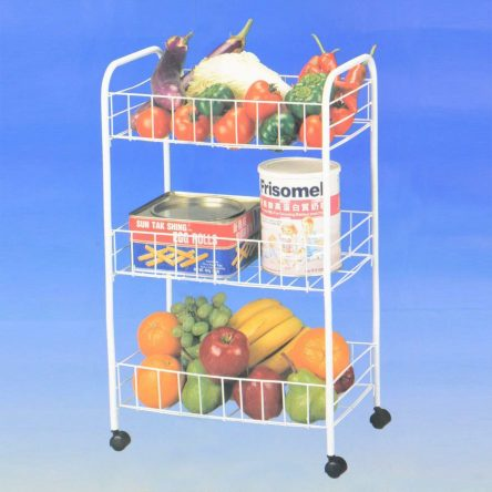3Tier Metal Rack Trolley Vegetable Fruit Storage