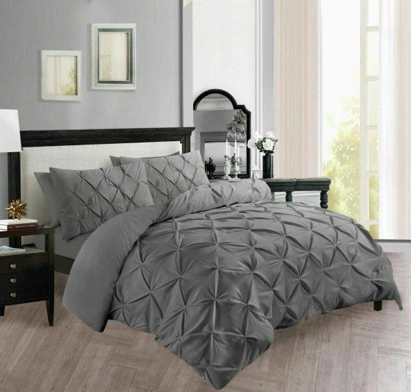 Pinch Pleat Grey Duvet Quilt Cover Set