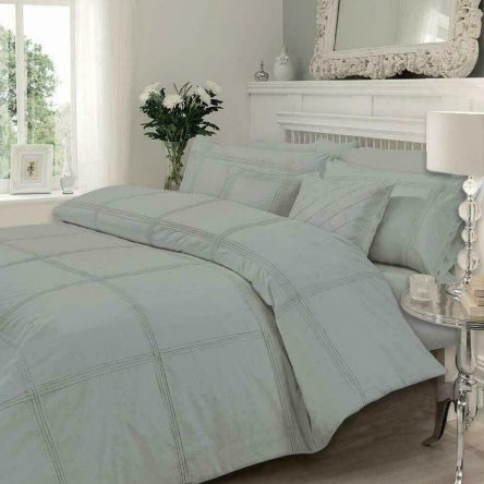Pintuck Pleat Grey Double Duvet Quilt Cover Set