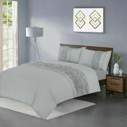 Vivien Grey King Size Duvet Quilt Cover Set