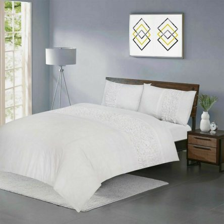 Vivien White King Size Duvet Quilt Cover Set