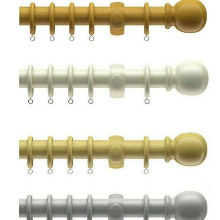 28mm Wooden Curtain Pole Set With Ball Finials