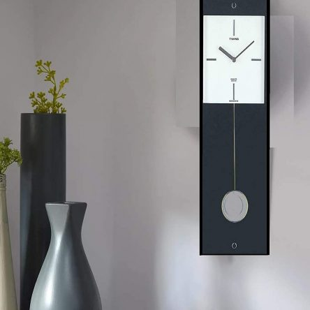 Twins Quartz Black Wooden Pendulum Wall Clock