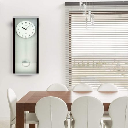 Twins Quartz Mahogany Pendulum Wall Clock with Frosted Glass Mirror