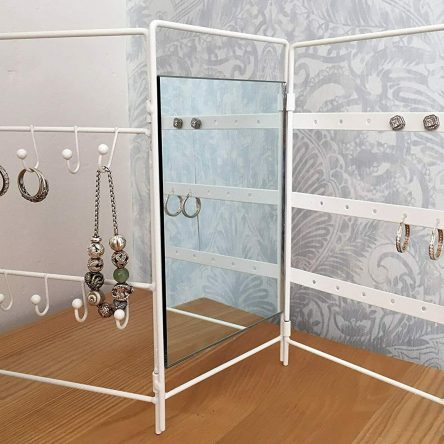 White Wire Folding Jewellery Stand Holder 42 x 26cm