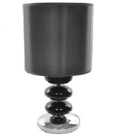 Lloytron Black Montana Coloured Glass Spheres Satin Fabric Table lamp