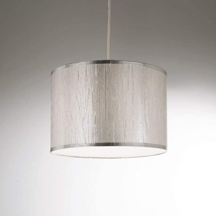 30cm Silver Shiny Finish With Slub Lining Effect Pendent & Ceiling Lightshade