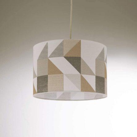 Multicoloured Modern Geometric Pattern Print Drum Shaped Ceiling Lightshade