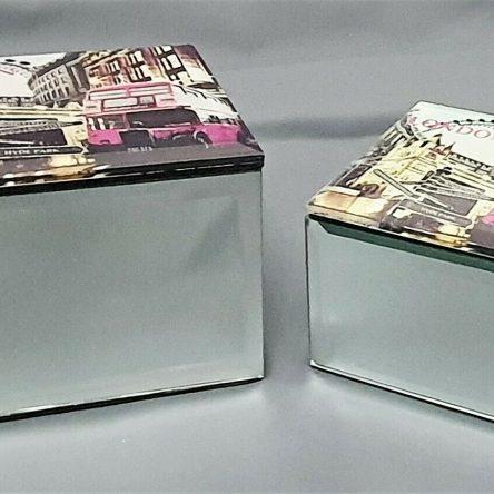 Pack of 2 London Mirror Glass Square Jewellery Storage Box