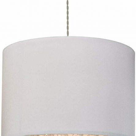 Shiny taffeta Ivory with double ring acrylic crystal diffuser pendant