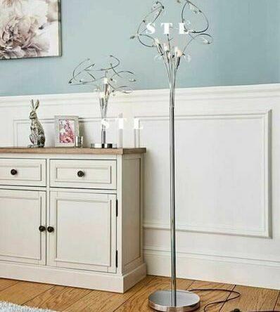 Stylish Polished Chrome 4 Light Bremen G9 Crystal Curly Floor & Table Lamp