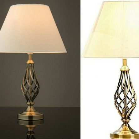 Village At Home Barley Twist Antique Brass Table Lamp With Cream Lampshade